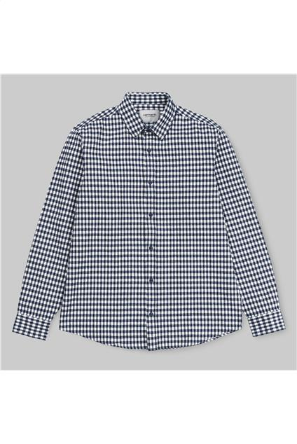 Homme Carhartt WIP L/S Stawell Shirt - stawell check, metro blue/white