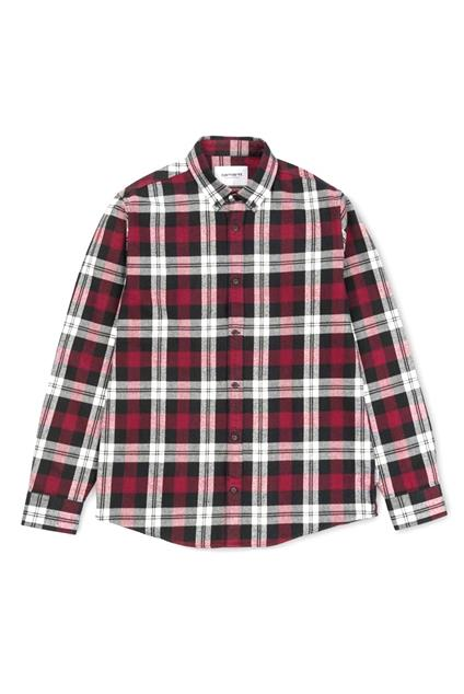 Homme Carhartt WIP L/S Lessing Shirt - lessing check, mulberry
